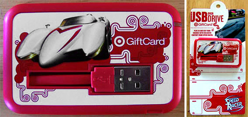 Target Speed Racer gift card flash drive