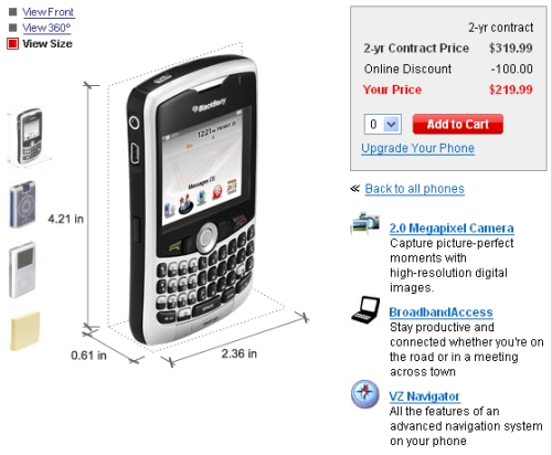 Blackberry Curve available at Verizon Wireless