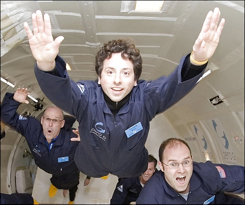 Sergey Brin, co-founder of Google, trains for a space flight in zero gravity.