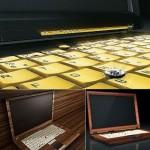 Singulum wooden notebooks sport ivory & gold keyboards