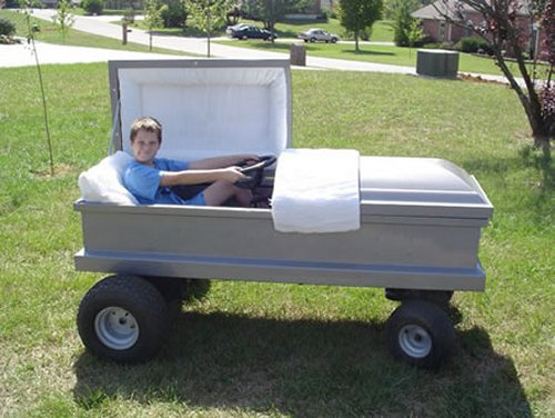 Coffin modded car makes for one morbid race