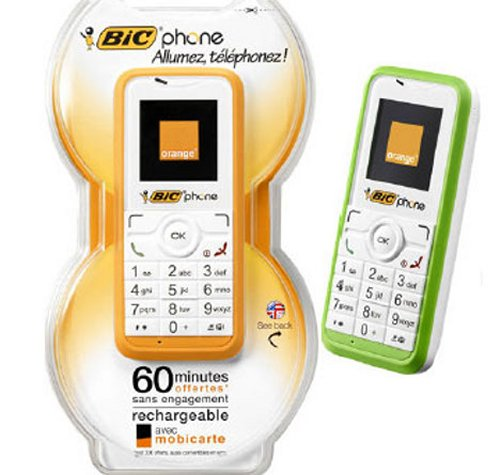 Bic pre-charged disposable cellphones