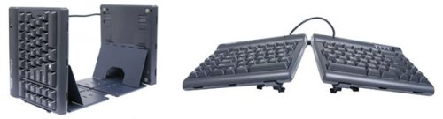 Kinesis ergonomic keyboards double as bookends