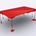 Table floats on paint drip legs