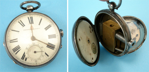 English Railroad Pocket watch with gun inside