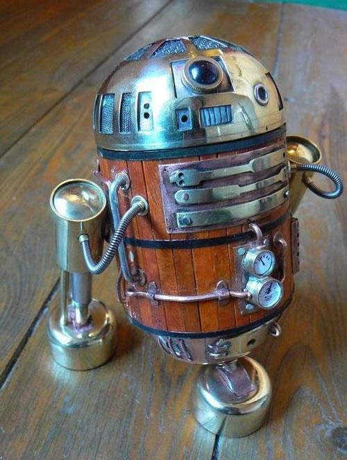 Beer Barrel R2-D2 Steampunk sculpture