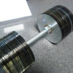 Dumbbells made with CDs are a great geek workout