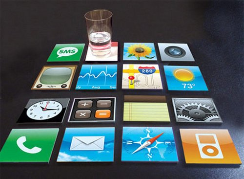 iPhone coasters protect your table's user interface