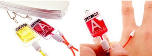 Blood bag cellphone strap displays your blood type