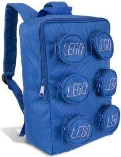 The LEGO Brick backpack holds schoolbooks, LEGOS