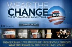 Obama supporters get USB bracelets