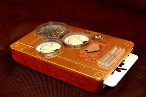 Steampunk phone works with a punch card
