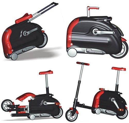 Suitcase doubles as a folding bike