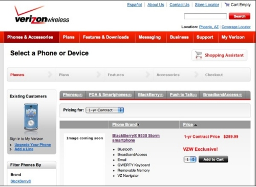 Blackberry Storm 9530 pricing revealed from Verizon Wireless