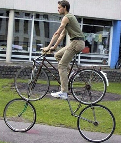 Double Bike is silly, should only be used by clowns