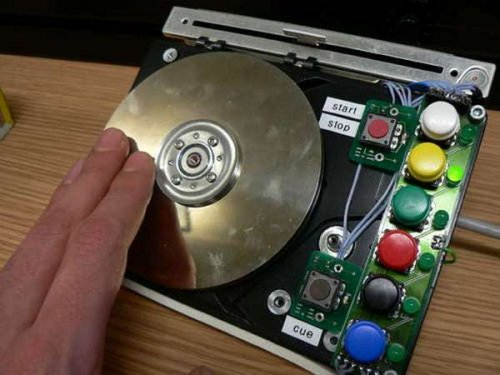 A hard drive hacked into a turntable