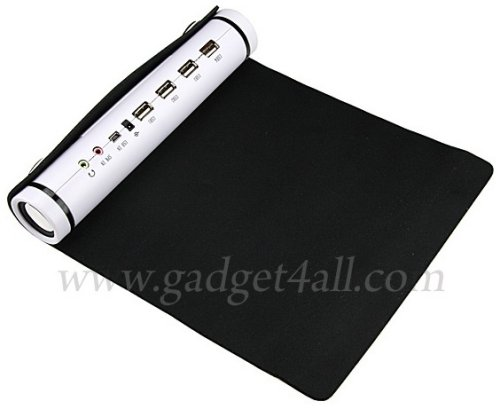 Roll-up mouse pad with USB hub & speakers