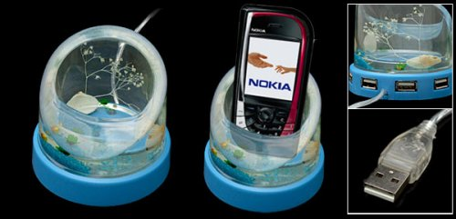 Fake aquarium USB hub &#038; phone holder