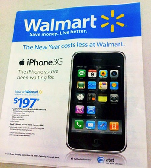 iPhone 3G hit Wal-Mart today