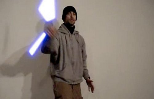 Lightsaber Nunchucks look pretty while they break your face
