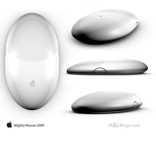 Apple's multitouch Mighty Mouse with aluminum finish