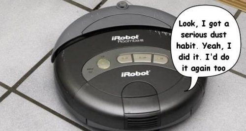 Roomba gets hopped up on carpet dust, trips home alarm