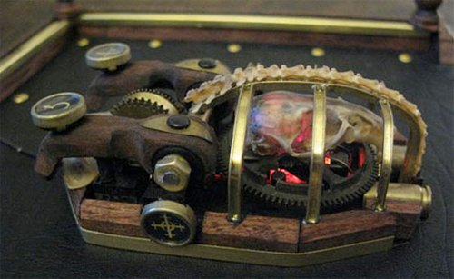 Steampunk Mouse made with real mouse parts