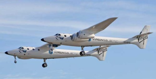 Virgin Galactic's WhiteKnightTwo takes its maiden voyage