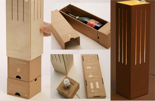 Wine bottle's package turns into a beautiful lamp