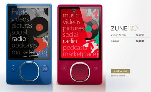 Blue & red Zune 120s available for the holidays