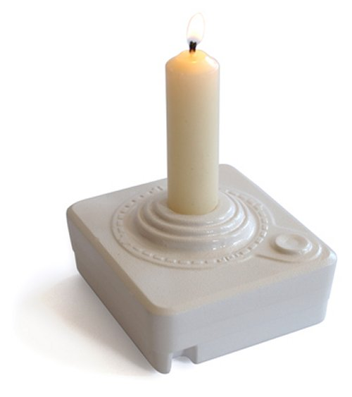 Atari Joystick ceramic candleholder