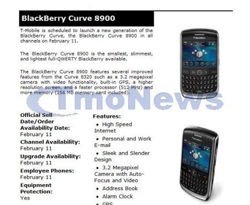 BlackBerry Curve from T-Mobile on February 11th