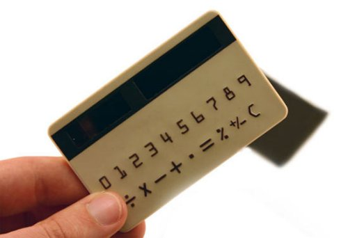 Solar-powered credit card calculator