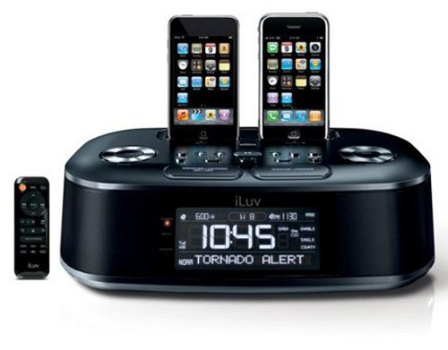 iLuvs iMM183 dual dock iPod alarm clock also does the weather