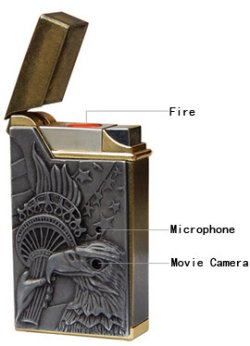 Cigarette lighter with spy camera