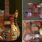 Steampunk guitar with clockwork gears, a lot of brass