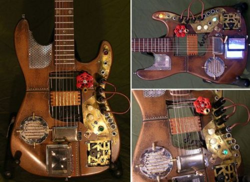 Steampunk guitar with clockwork gears, a lot of brass