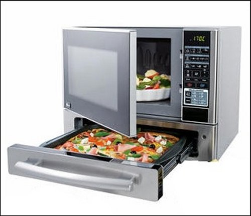Microwave Oven With A Pizza Drawer