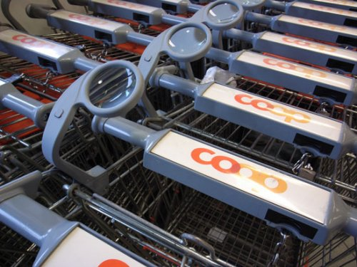 Shopping carts with magnifying glasses