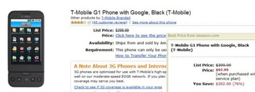T-Mobile G1 available at Amazon for $97