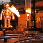 Gigantic fire breathing robot descends on Japan