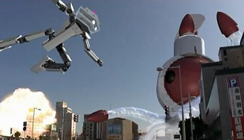 Alien squid fights a giant robot in Japanese tourism videos