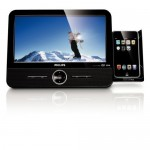Philips portable DVD player with retractable iPod dock