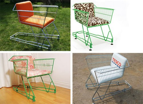 Recycled Shopping Cart chairs