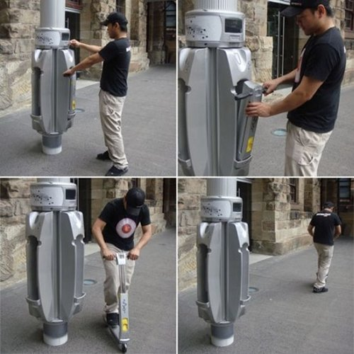 Grab a public scooter from a lamppost