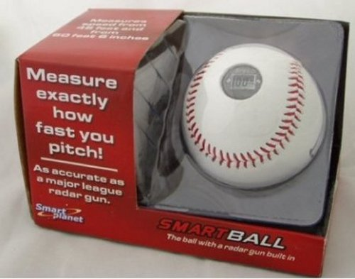 Baseball with a radar gun built in