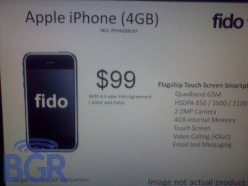 Fido to offer 4GB iPhone 3G