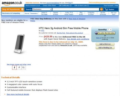 HTC Hero pre-order at Amazon UK