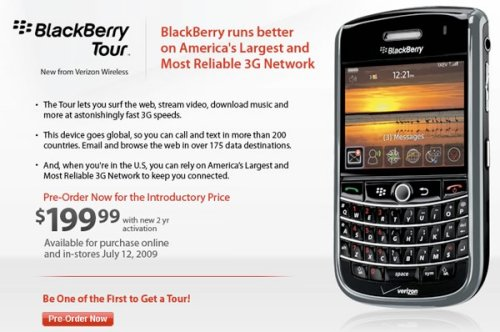 Verizon's BlackBerry Tour coming July 12th, pre-order now
