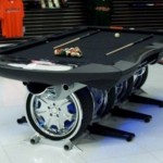 Unique Autosports pool table balances on wheels, might peel out